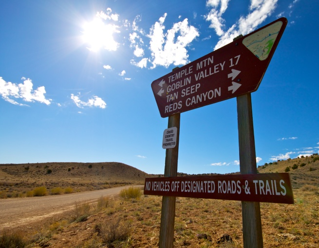Temple Mountain Road Sign
